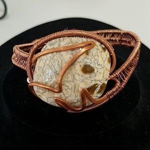 Petrified Stone Caboshone set in Copper